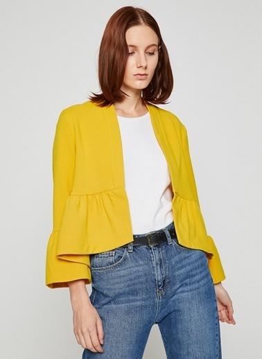 Koton Koton Sarı Volan Detaylı Ceket Sarı